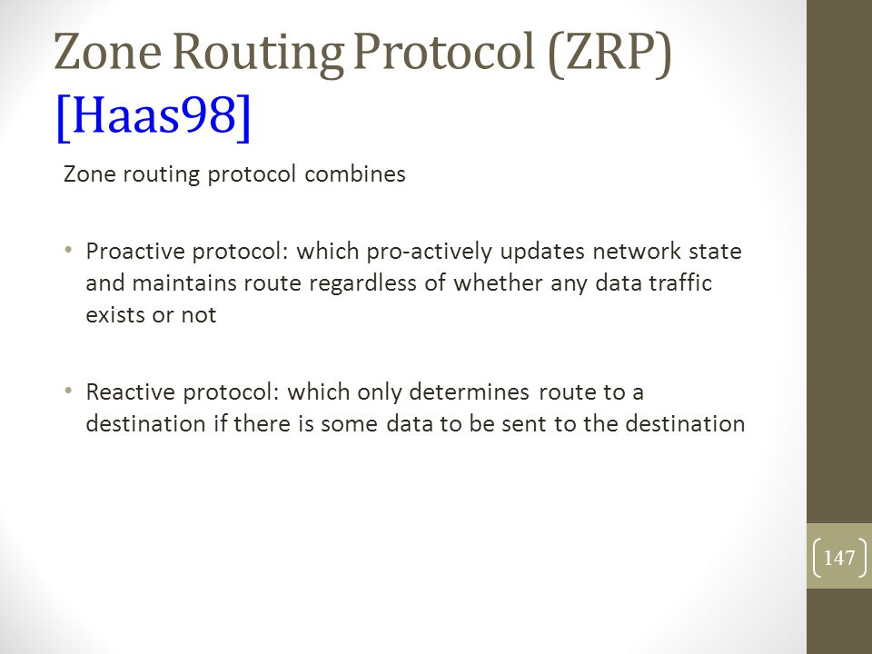 Zone Routing Protocol (ZRP) [Haas98]